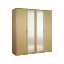 Classic 4-door wardrobe with mirrors
